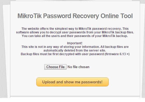 MikrotikPasswordRecovery