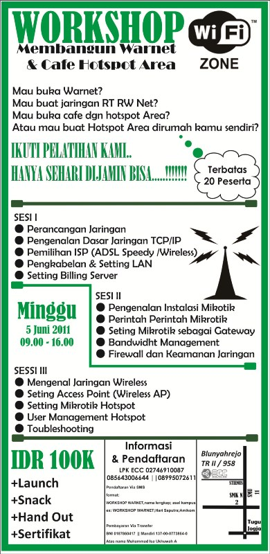 Workshop Membangun  Hotspot Internet Cafe