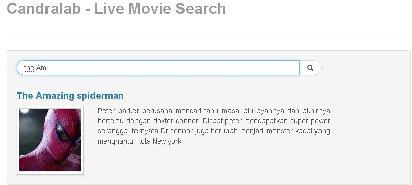Tampilan Live Movie Search yang akan kita bangun