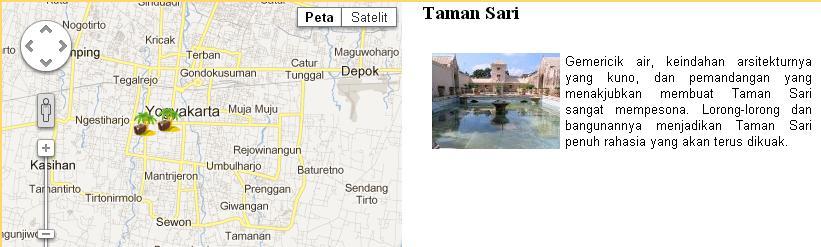 user mengklik icon marker disebelah kiri, maka informasi lokasi akan muncul disamping peta.
