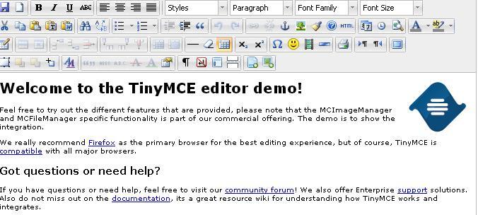 Text Editor berbasi web TinyMCE