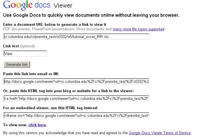 Google Doc Viewer
