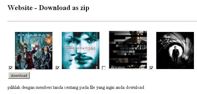 tampilan halaman download as zip