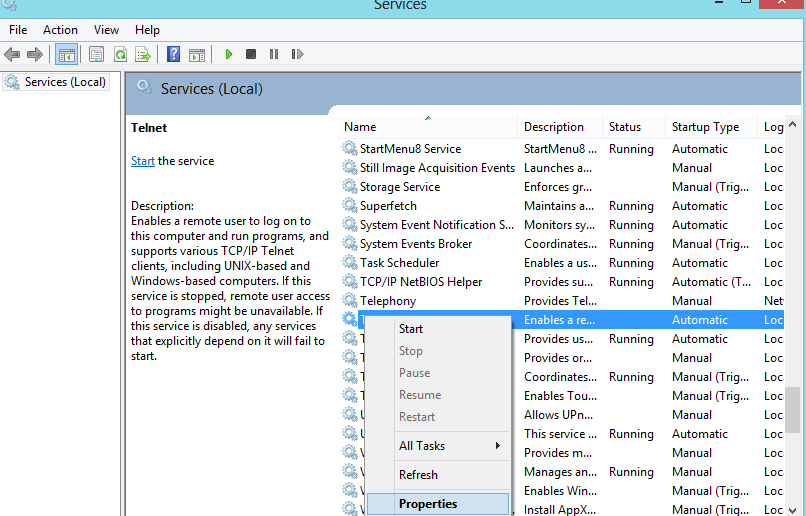 Seting Telnet Server di Windows