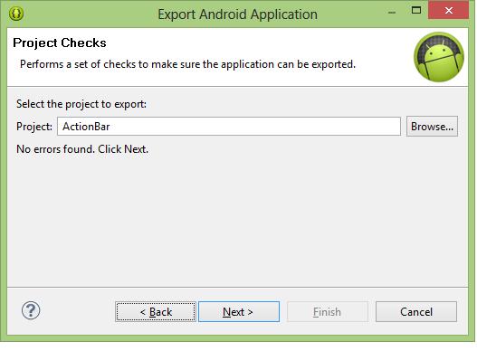 Export langkah kedua, pilih proyek