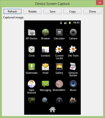 Mengambil screenshot di emulator