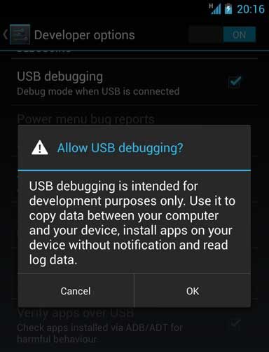 Enable USB debug