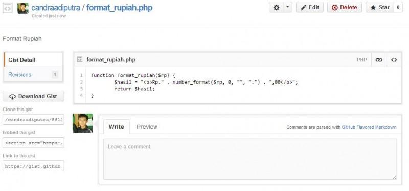 Contoh gist berisi snippet code fungsi format rupiah di php