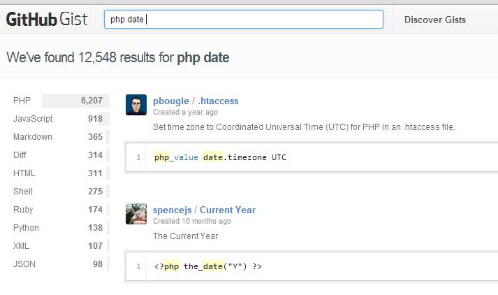 Sample hasil pencarian gist untuk php date
