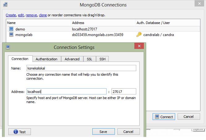 Cara seting koneksi di mongoDB