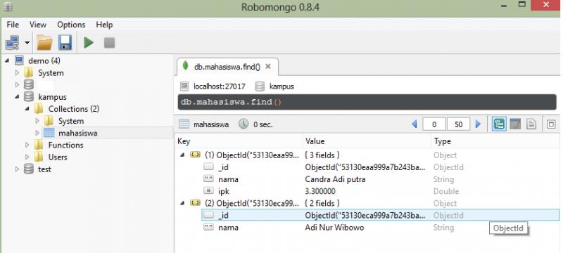 RoboMongo UI, untuk melakukan operasi data cukup ketikan perintah dishell atau klik kanan