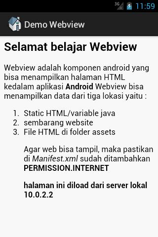 Contoh tampilan HTML di Webview