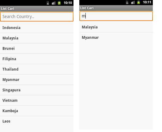 gambar kiri, list sebelum di filter, gambar kanan list saat di filter (pencarian)