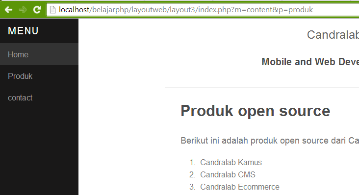 Screenshoot teknik layout, perhatikan addresbarnya