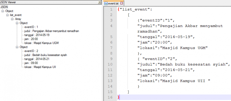 JSON viewer di Notepad++