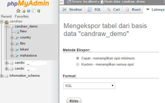 Backup database di PHPMyAdmin