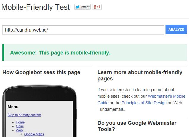 Hasil dari testing menyatakan candra.web.id mobile friendly