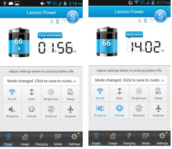 Kiri: tampilan saat charging butuh waktu 1 jam 56 menit, kanan:tampilan sisa batere tinggal 14 jam 2 menit