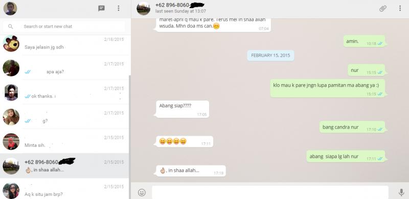 Tampilan WhatsApp berbasis Web